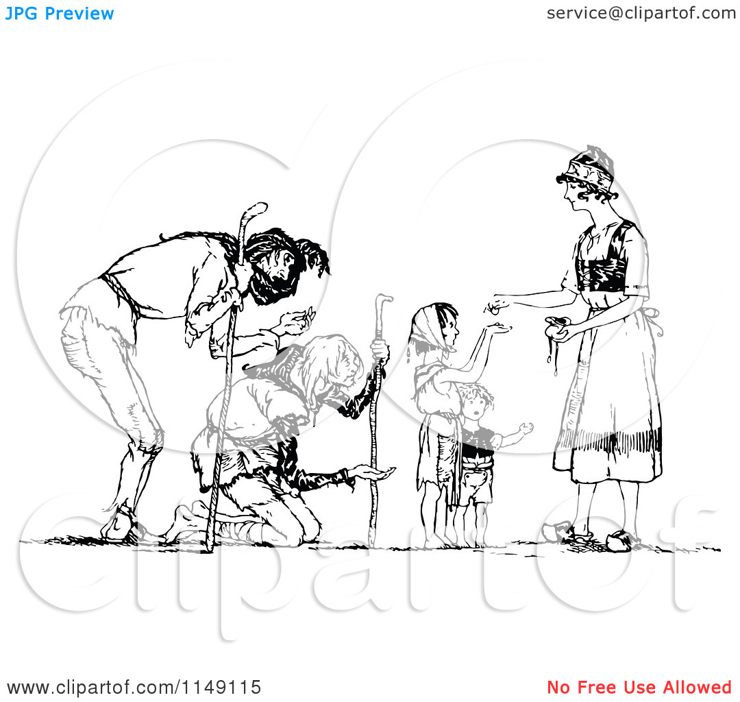 Clipart of a Retro Vintage Black and White Woman Giving Alms to.