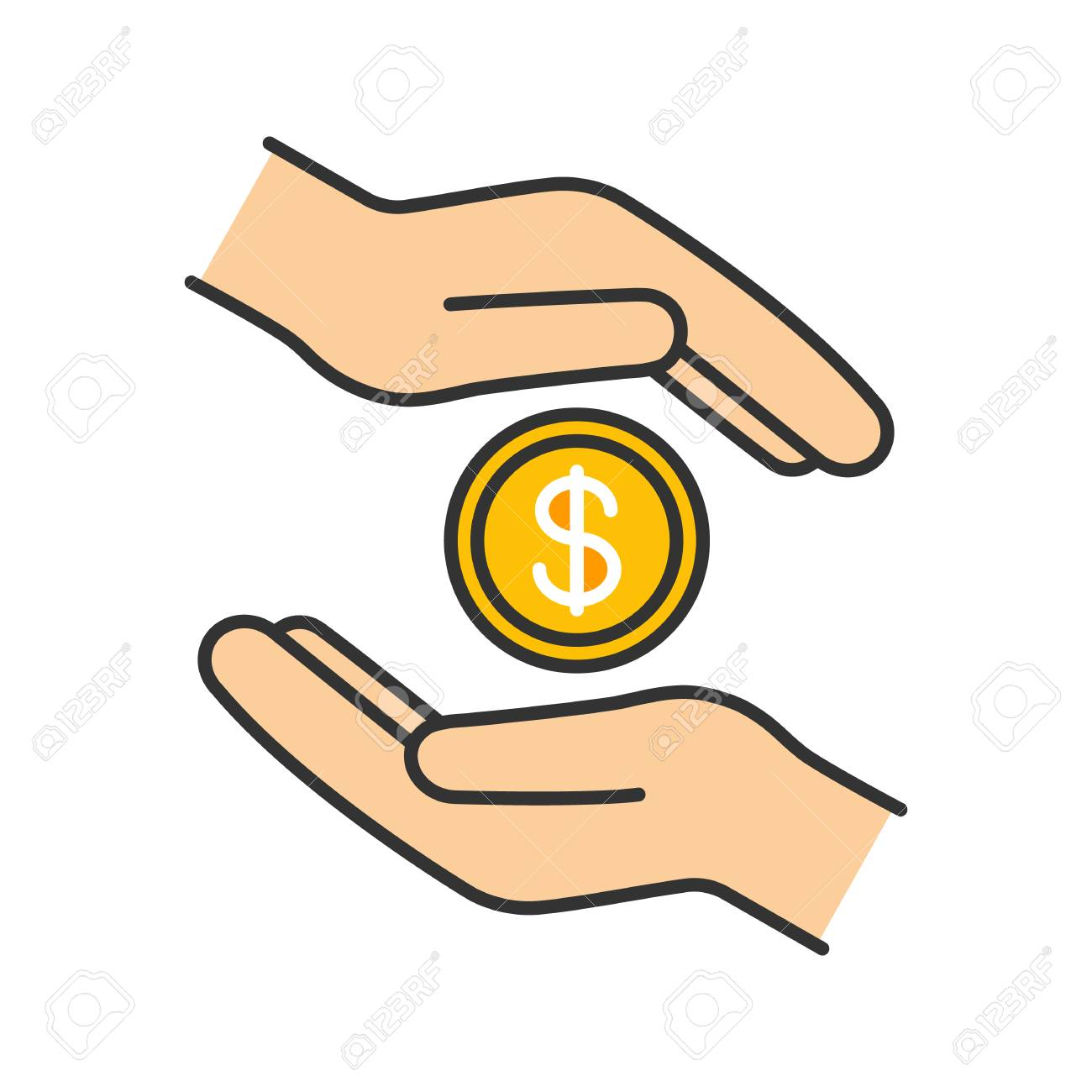 Charity color icon. Donation. Islamic zakat. Helping hands. Alms.