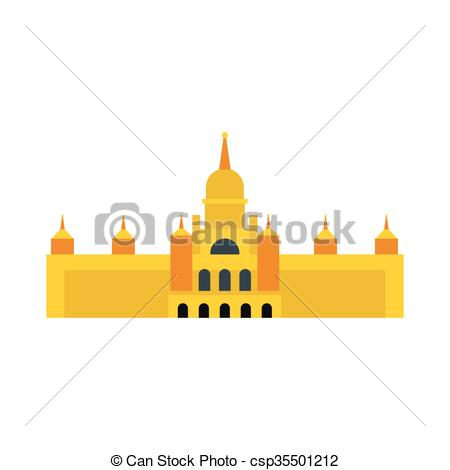 Vector Clip Art of Almudena Cathedral, Madrid icon, flat style.