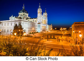 Stock Images of Almudena cathedral at Madrid in night.