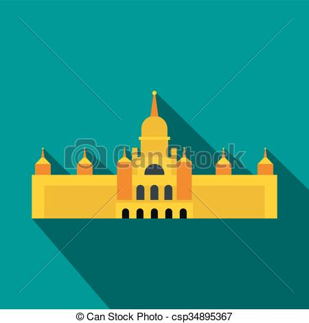 Clip Art Vector of Almudena Cathedral, Madrid icon, flat style.