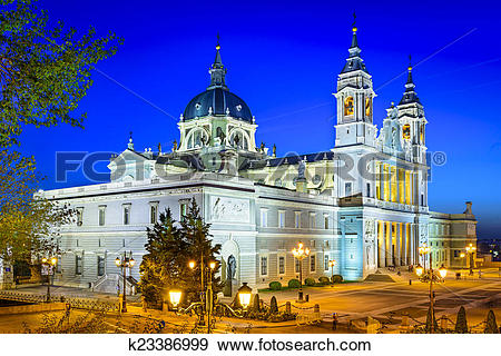 Stock Photograph of Almudena Cathedral of Madrid, Spain k23386999.