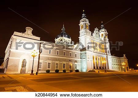 Stock Photo of Almudena cathedral in night. Madrid, Spain.