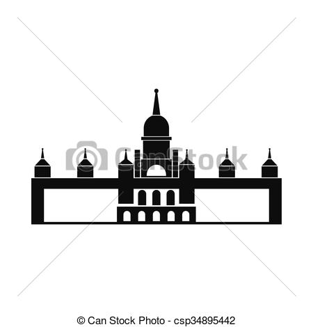 EPS Vector of Almudena Cathedral, Madrid icon, simple style.