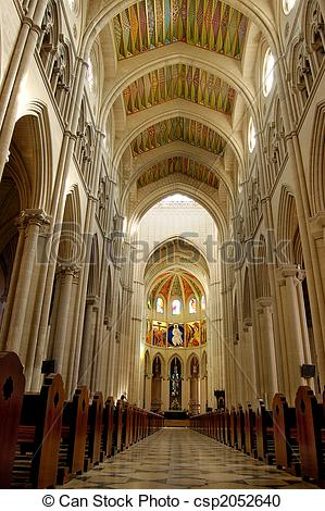 Stock Photography of Cathedral of Almudena in Madrid, Spain.