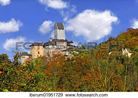 "Stock Photograph of ""Clouds above Burg Kipfenberg castle with."