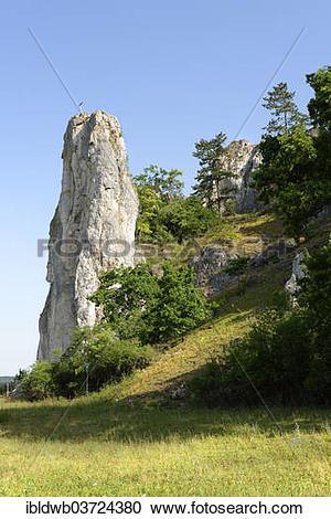 "Stock Photography of ""Castle Rock near Dollnstein, Altmuehltal."