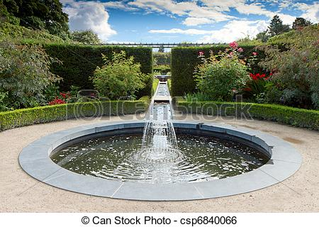 Stock Image of Water feature in Alnwick Castle gardens.