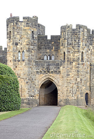 Alnwick Castle Gatehouse Stock Photos.