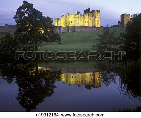 Stock Photo of England, Northumberland, Alnwick, Reflections in.