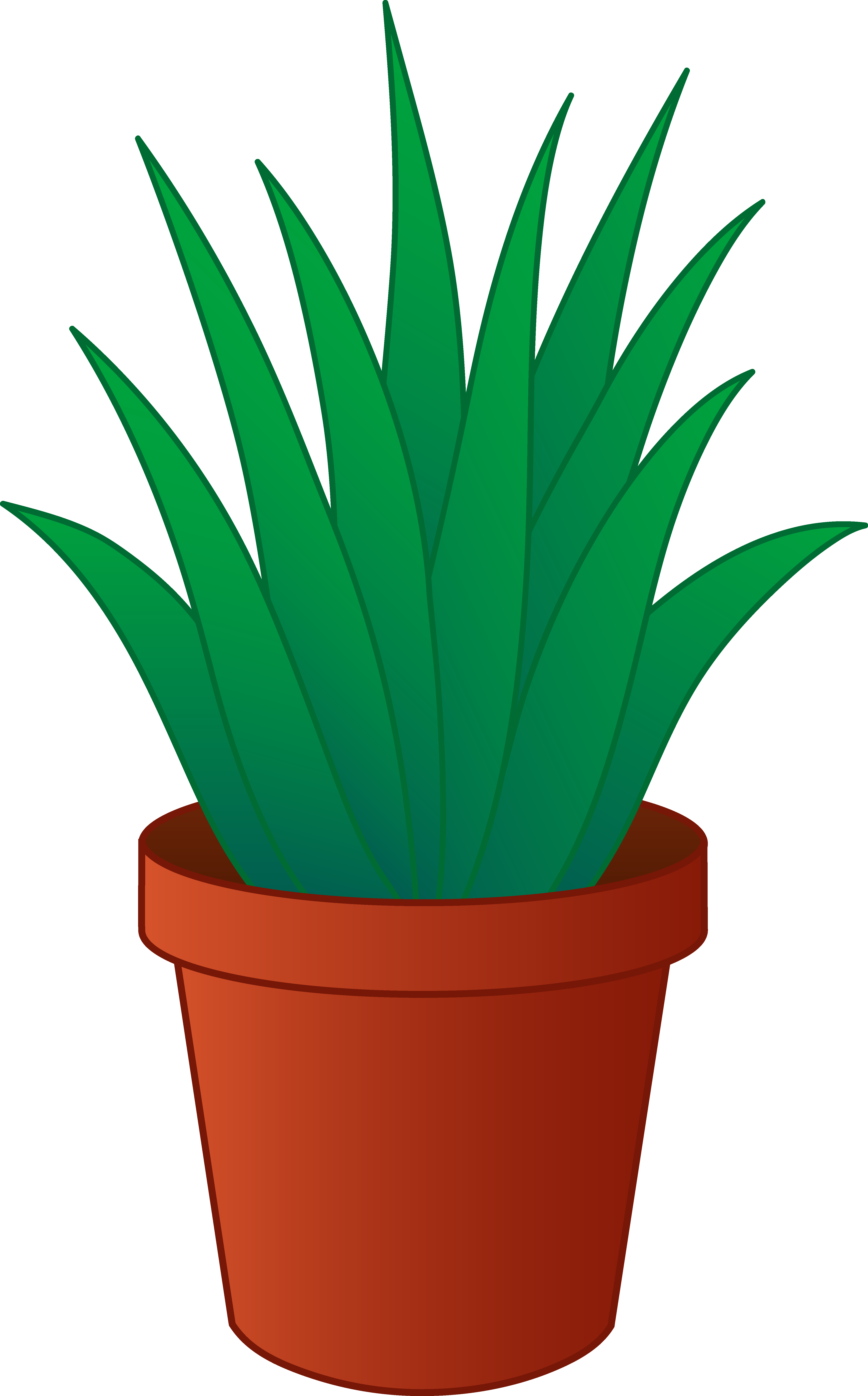 Aloe Vera Plant In Pot Clipart.