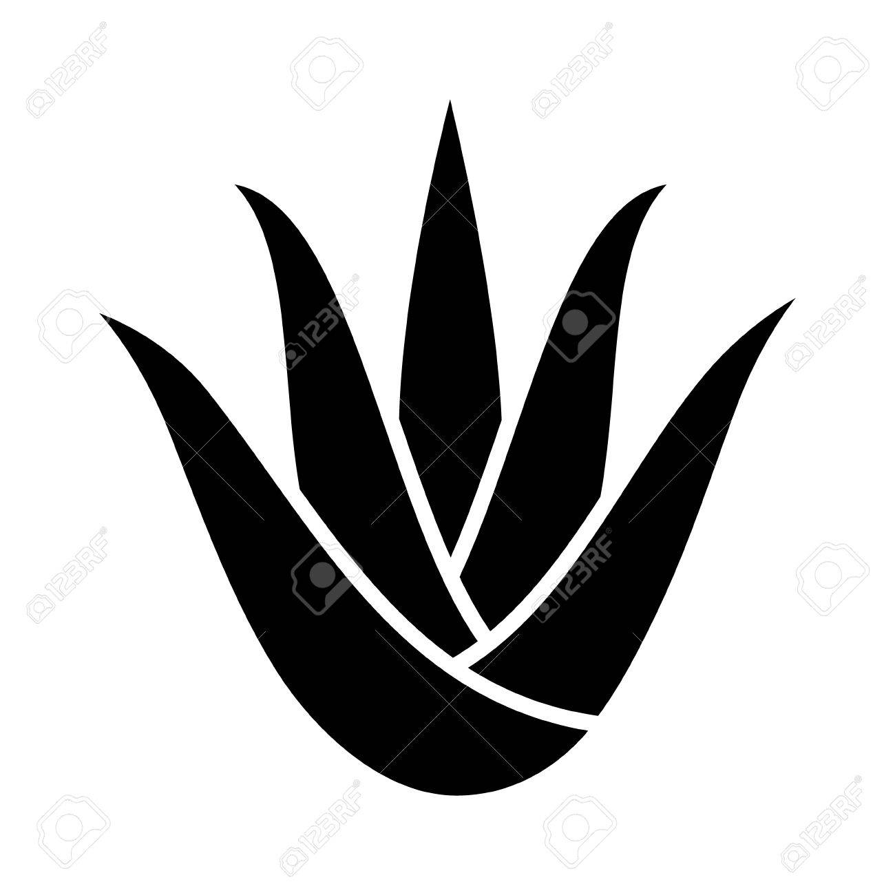 Aloe vera plant with leaves flat icon for apps and websites.