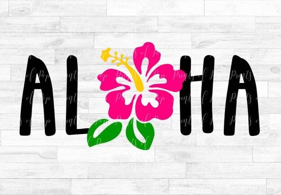 Aloha svg, Hibiscus Flower svg, Hawaii Flower clip art, svg, dxf, png Files.