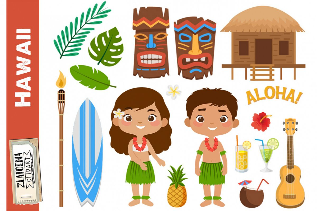 Hawaii clipart Tropical clipart Luau clipart Travel clipart.