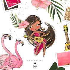 Tropical Clipart Glitter Flamingo Clipart Hula Girl Hawaii.