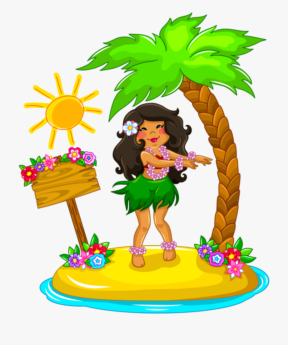 Hawaiian Aloha Tropical Little Girl Drawing, Dancer.