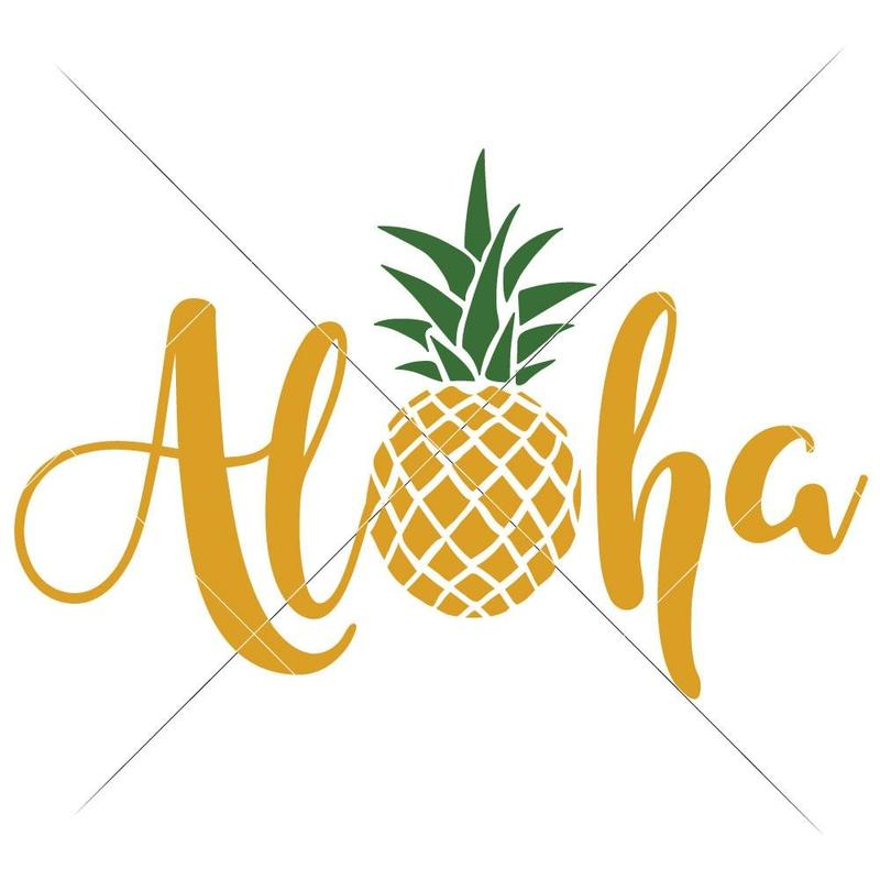 Aloha with Pineapple svg png dxf eps.