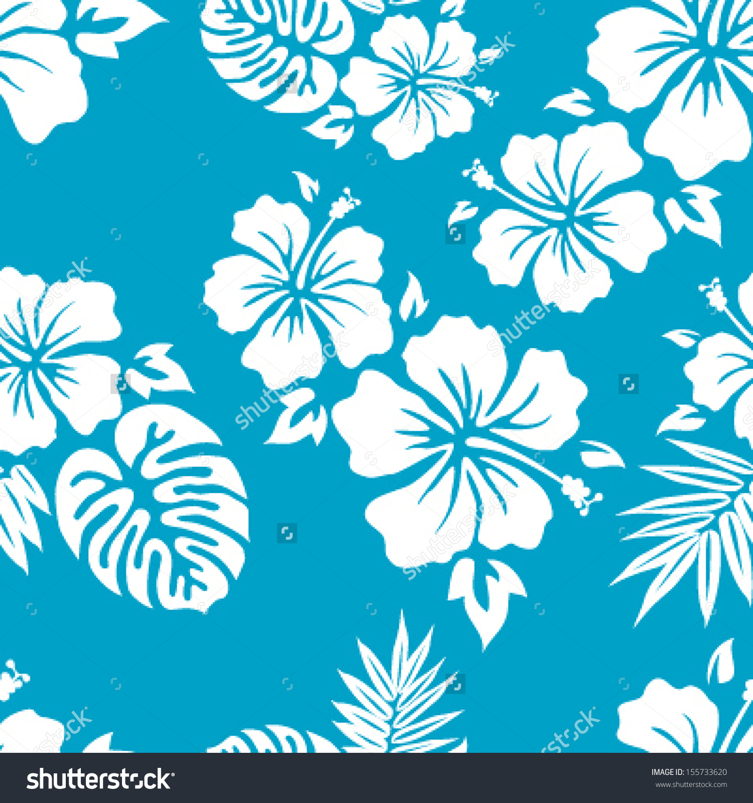 Hawaiian Aloha Shirt Seamless Background Pattern Stock Vector.