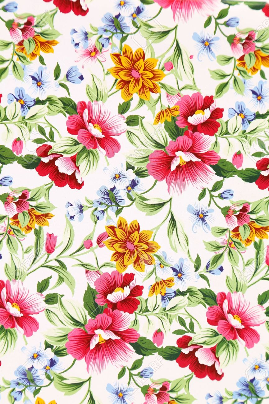 Print Of Different Flowers. Close Up. Background. Stock Photo.