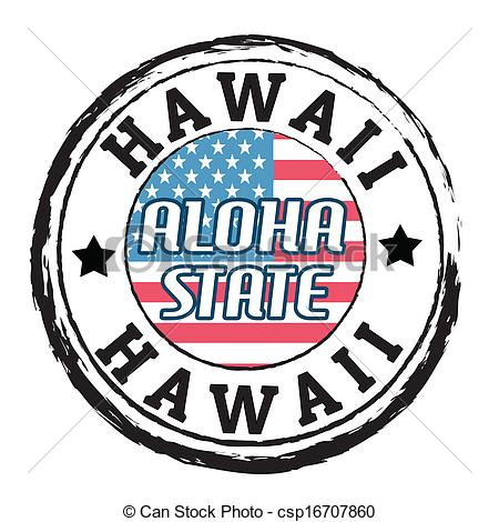 Clip Art Vector of Hawaii, Aloha state stamp.