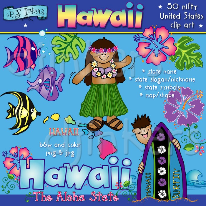 Tropical Hawaiian clip art for the aloha state by DJ Inkers.