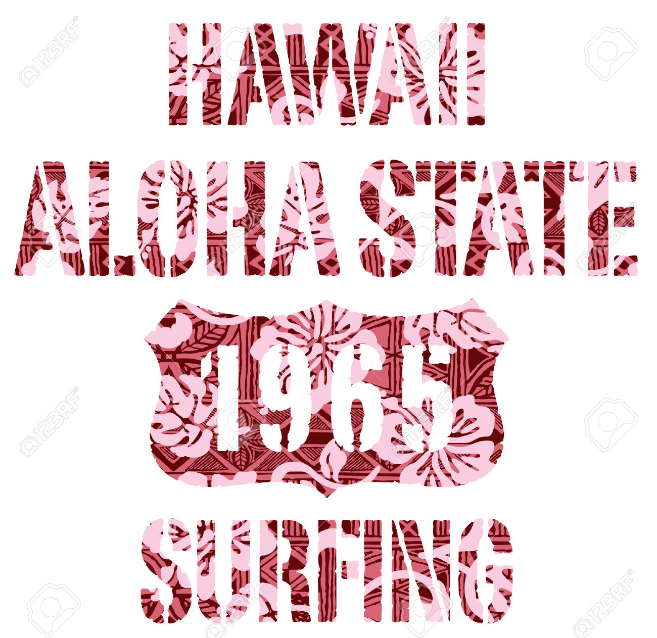Aloha State Surfing. Vintage Vector Artwork For T.