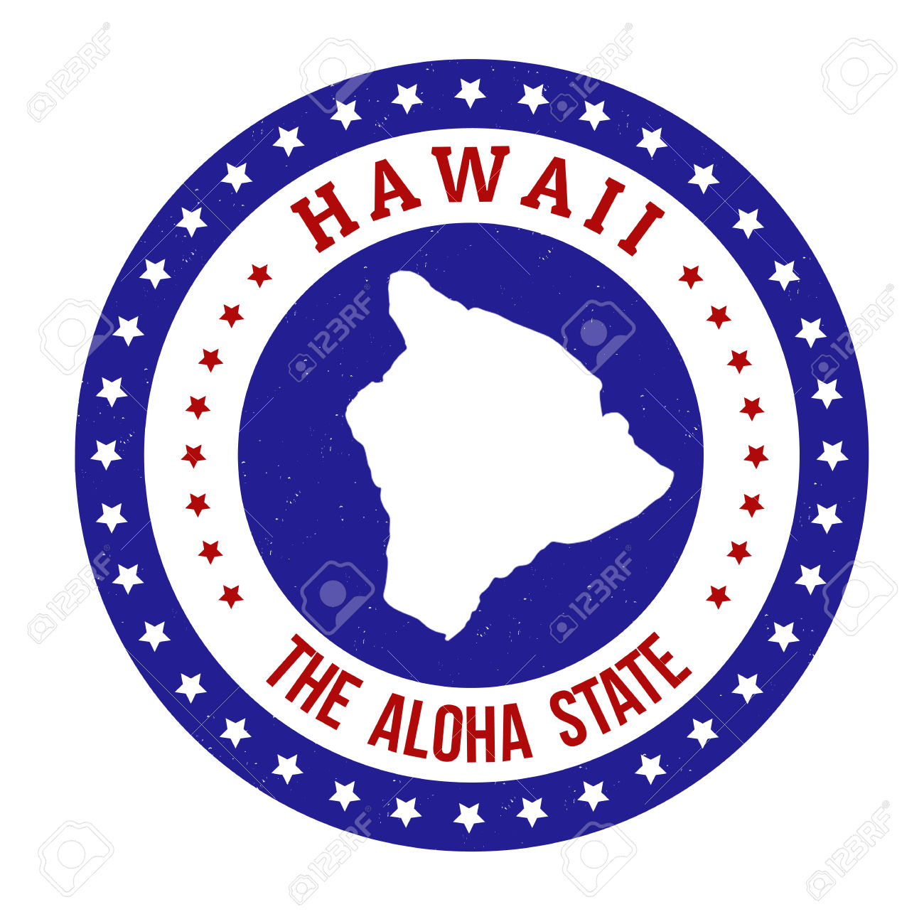 Vintage Stamp With Text The Aloha State Written Inside And Map.