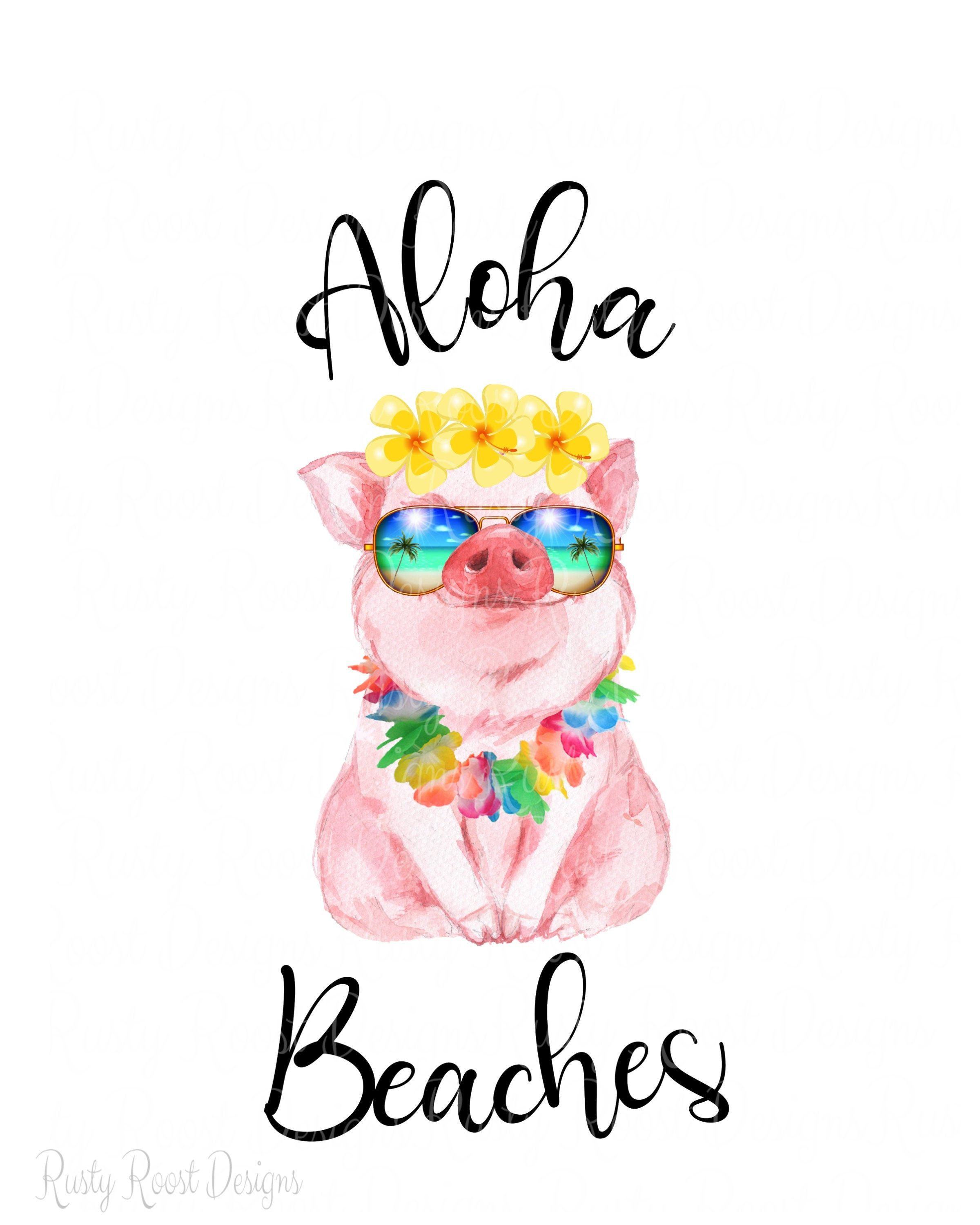 Aloha beaches png,pig with sunglasses,tropical pig png.