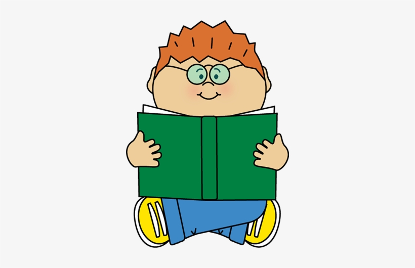 Boy Reading Alone Clip Art.