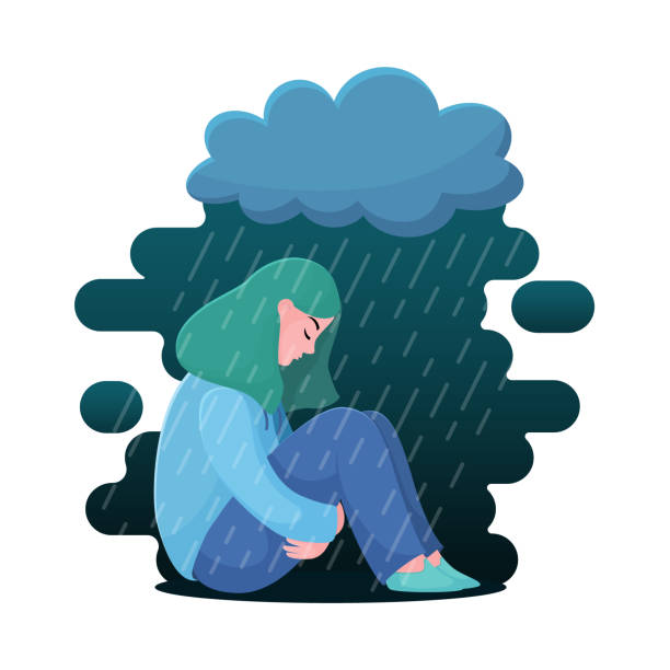 Best Clip Art Of A Sad Girl Sitting Alone Illustrations, Royalty.