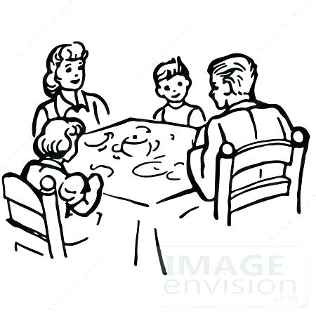 family dinner table clipart.