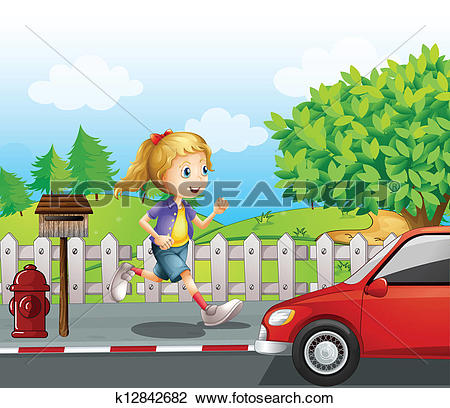 Clipart of A girl running along the road k12842682.