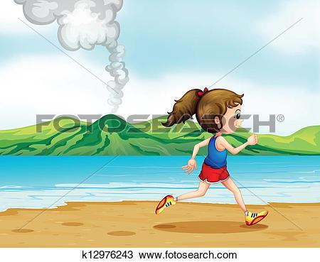 Clipart of A girl running along the seashore k12976243.