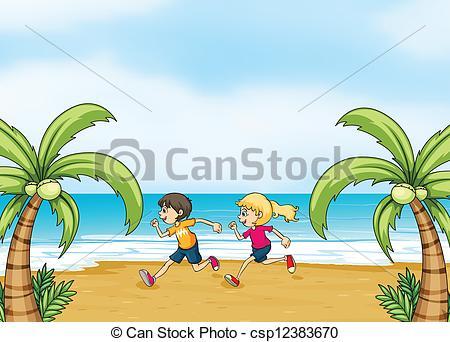 Clipart Vector of Three kids running along the field.