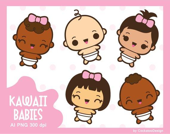 Kawaii clipart, kawaii baby clipart, cute baby clipart, baby.