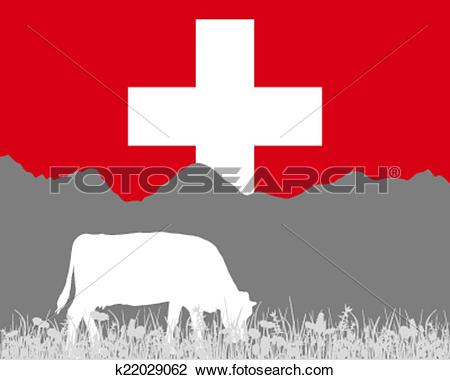 Clipart of Cow alp and swiss flag k22029062.