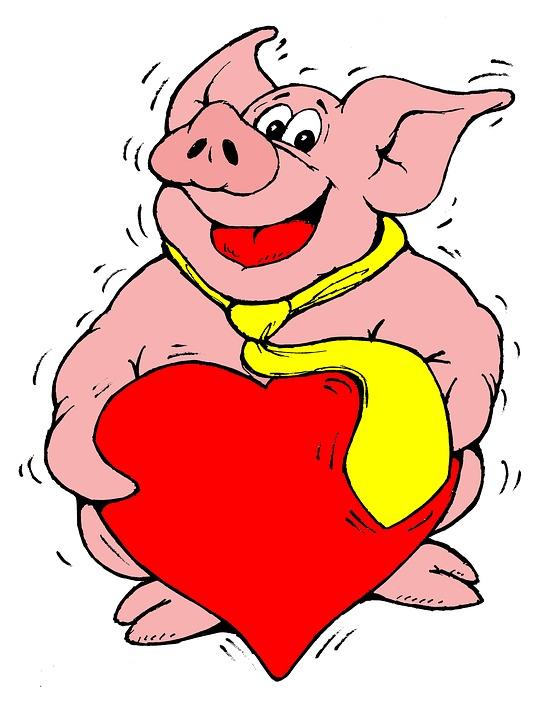 Free illustration: Pig, Heart, Lucky Pig.