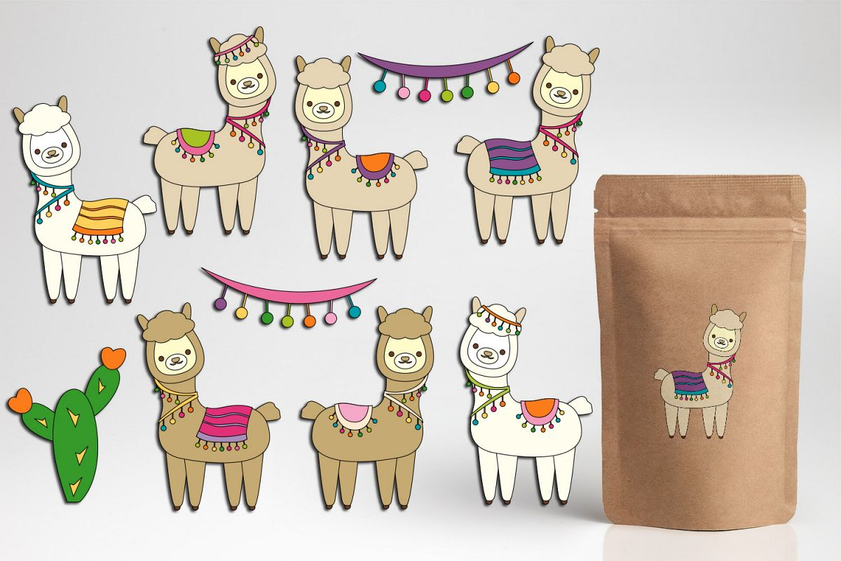Pretty Llama clipart graphics Cute Alpaca illustrations.