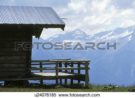 Stock Image of cabin, alpe, brake, bath, austria, calf, alp.