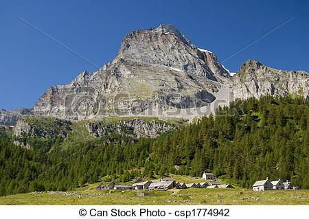 Stock Photo of Alpe Veglia and monte Leone.