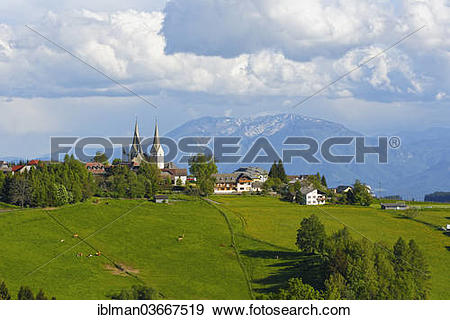 """Stock Photograph of """"Town of Diex with pastures, Mt Peca or Mt."""