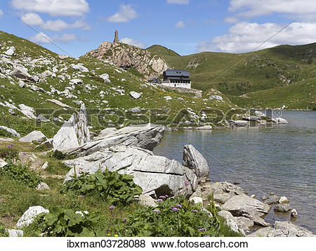 """Pictures of """"Wolayer Lake or Wolayersee with the Wolayersee hut."""
