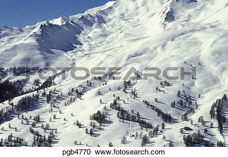 Stock Photography of Ski lift at Sauze in the maritime Alps.