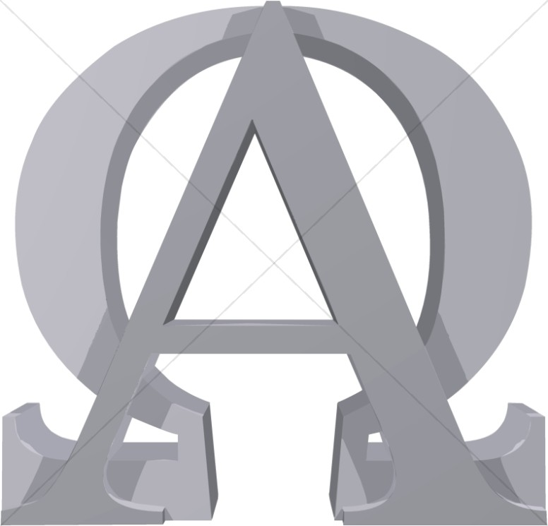 Grey Alpha and Omega Sign.