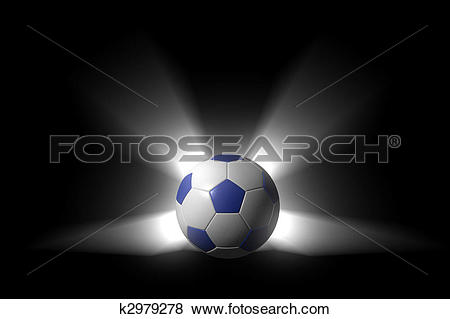 Stock Illustration of Glowing soccer ball over black background.
