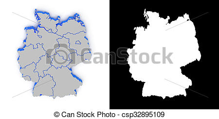 Stock Illustration of Germany 3D map with shadow.. Alpha channel.