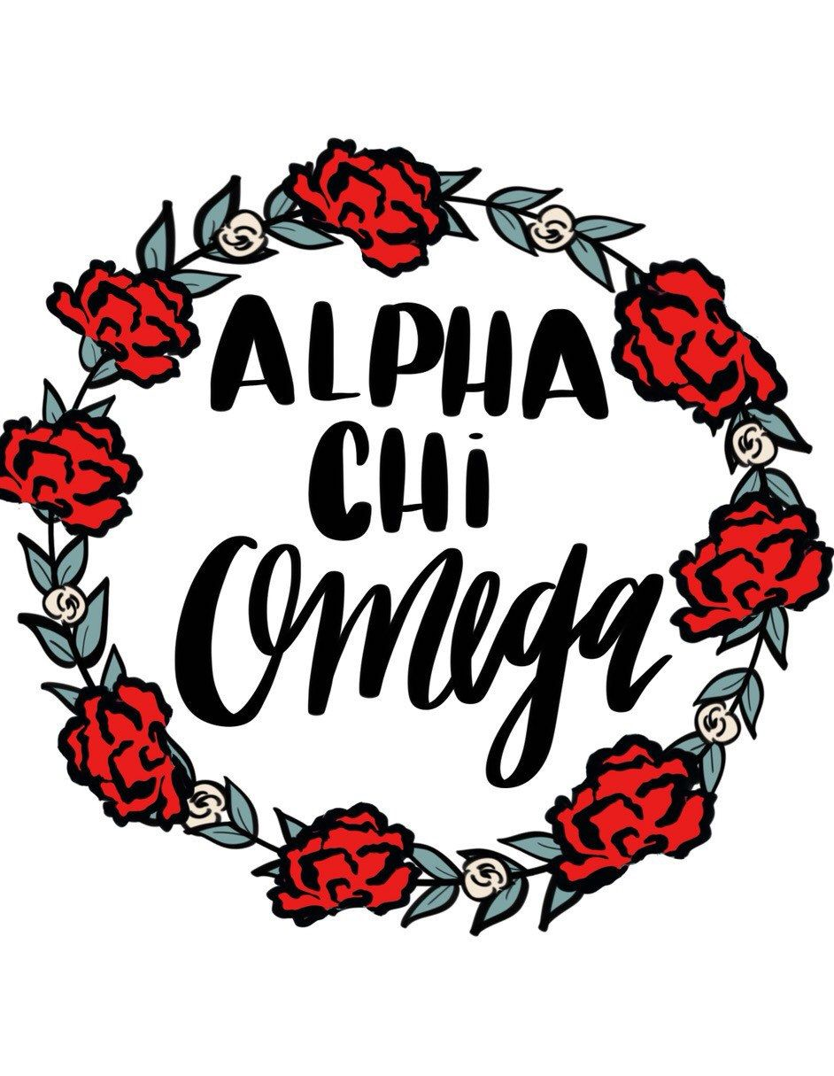 Alpha chi omega floral wreath by ShenaniDesigns on Etsy.