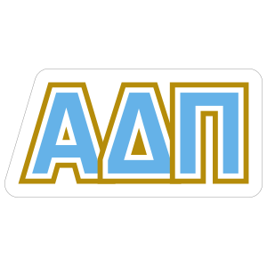 Alpha Delta Pi Blue and Gold Letters Sticker.