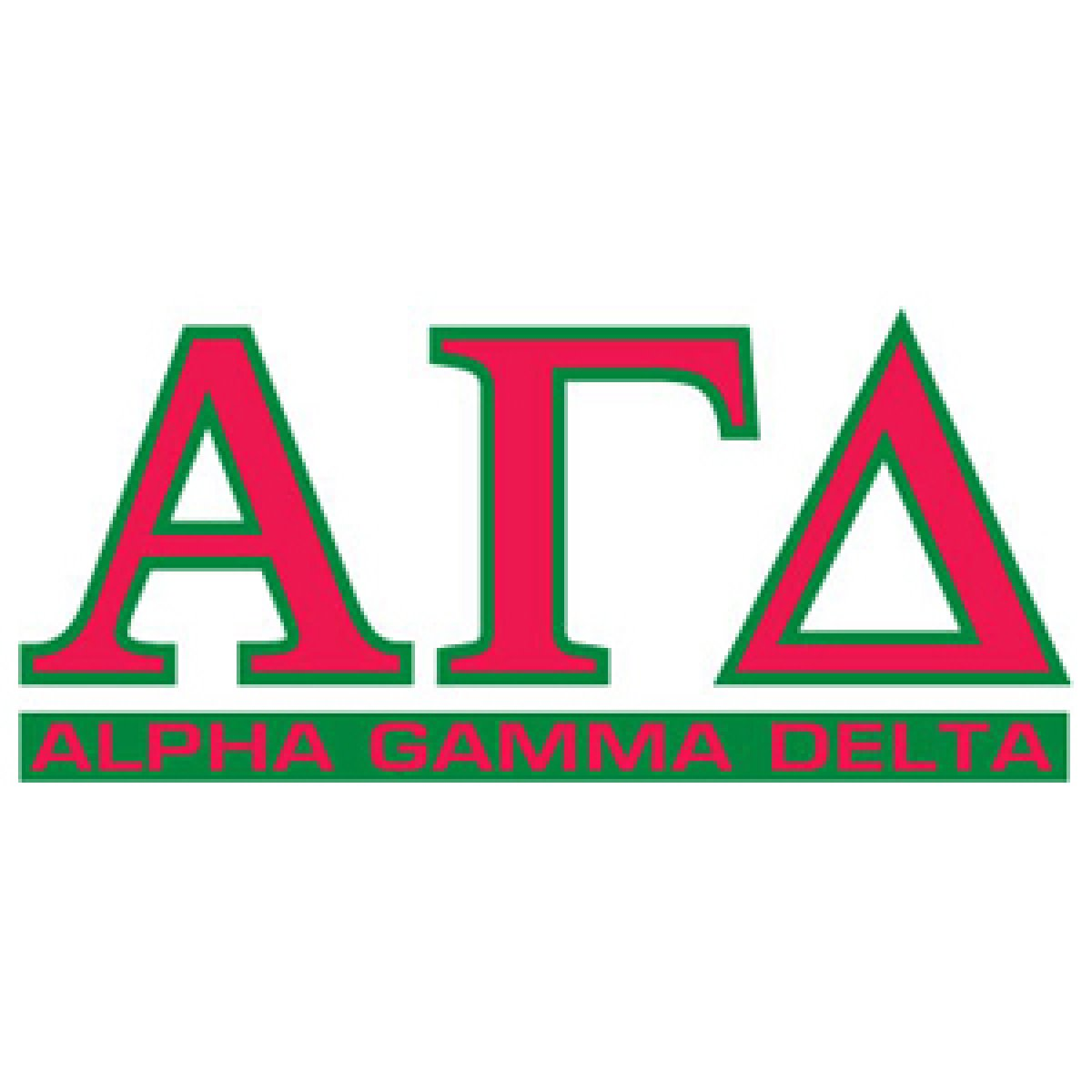 Alpha Gamma Delta Letters Over Name Decal.