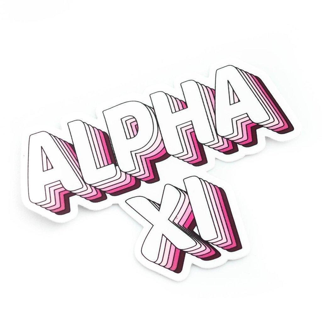 Alpha Xi Delta Groovy Stickers.